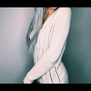 Ivory Open Back Tie Sweater 🖤