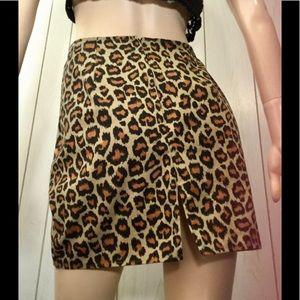 VTG 80s Leopard Print Denim Mini Skirt Sz 11/12