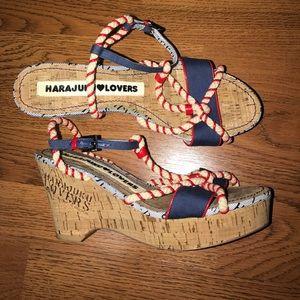 Harajuku Lovers Shoes - Harajuku Lovers ❤️nautical wedge Sandal 8.5  EUC