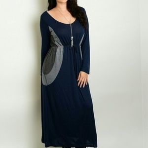 Plus Size Maxi Dress Navy Grey Color Block Pattern