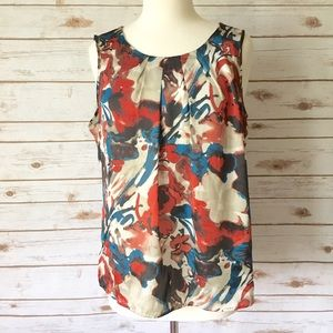 Notations Tops - Notations Abstract Floral Sleeveless Blouse