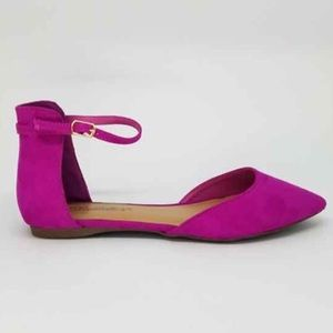 pointe Shoes - Now available! Magenta D'Orsay Ankle Strap Flats