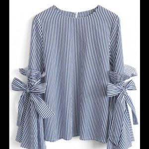 Tops - Stripes Charisma Top with Bell Sleeves