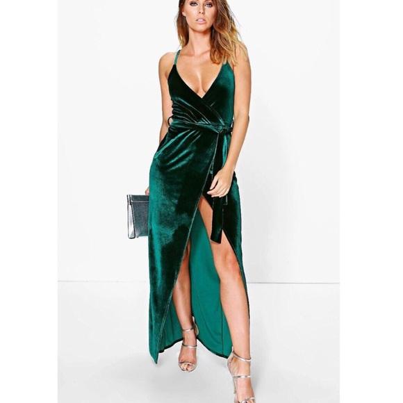 6e944fe5159 🆕ASOS Emerald Green Velvet Tie Wrap Maxi Dress