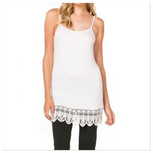 Monoreno Tops - Off-white Cami tunic/dress with crochet lace