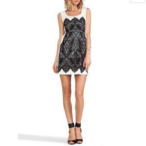 Nanette Lapore black and white lace dress 0