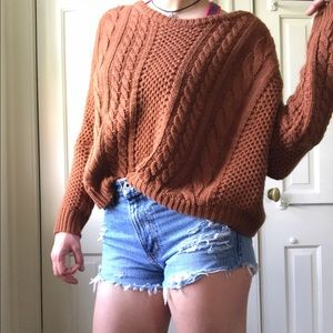 American Apparel Sweaters - Rust Orange Cropped Cable Knit Sweater