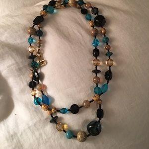 Versatile necklace, Blue, Gold & Black accents.