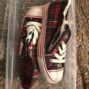 """Gotta Flurt Shoes - Red Plaid """"converse style"""" Shoes"""