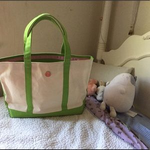 Lilly Pulitzer green canvas tote