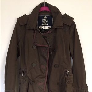 SUPERDRY navy label green jacket small army