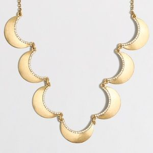 J. Crew Crystal Scallop Crescent Moon Necklace