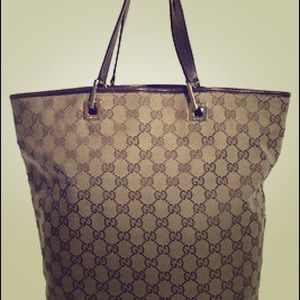 Gucci Handbags - Gucci Monogram Canvas Large Leather Trim Tote 👜