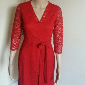 New York & Company Dresses & Skirts - New York & Company red lace dress NWT