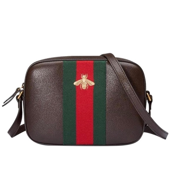 NEW GUCCI LINE BEE, EMBROIDERED LEATHER CROSS,BODY NWT