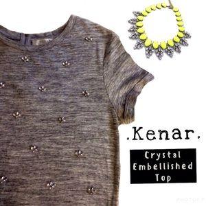Kenar Tops - •KENAR• GRAY CRYSTAL EMBELLISHED ZIPPER BACK TOP