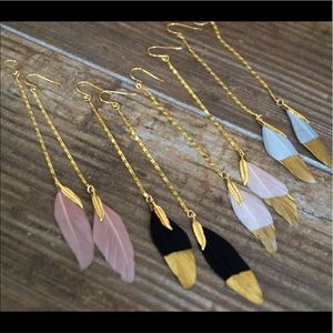 Function & Fringe Jewelry - Feather Earrings. Gold dipped gorgeous