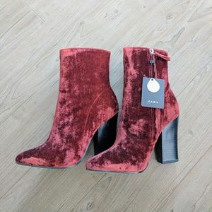  Luxe Red Suede Booties