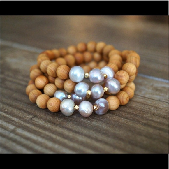 2 for price of one  Pearl and sandalwood bracelets Boutique
