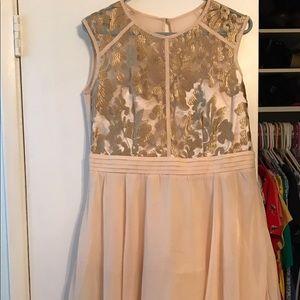 Little Mistress Dresses & Skirts - Gold and pink appliqué dress