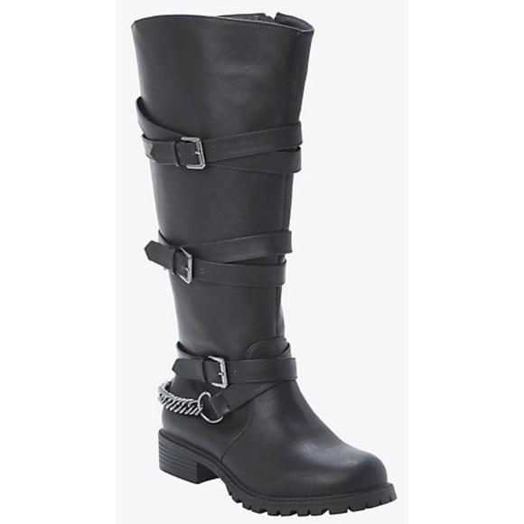 cc4884d5f9c 💥 New Torrid Women's Tall Chain Black Wide Boots