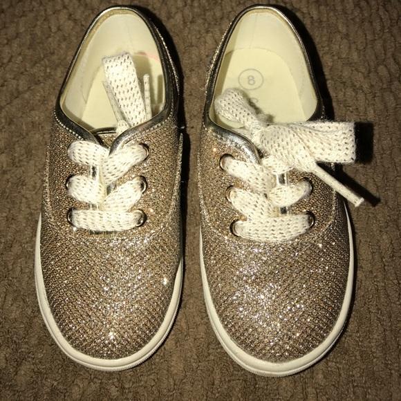 Toddler Girl Gold Glitter Tennis