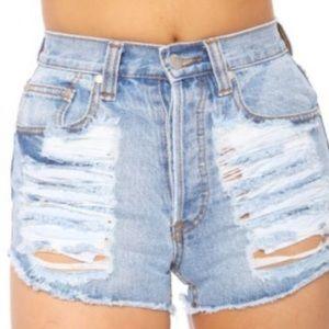 MINKPINK Pants - MINKPINK Acid wash slasher flick jean shorts