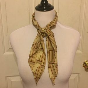 Vintage Tan/Cream/Red Patterned Triangle Scarf