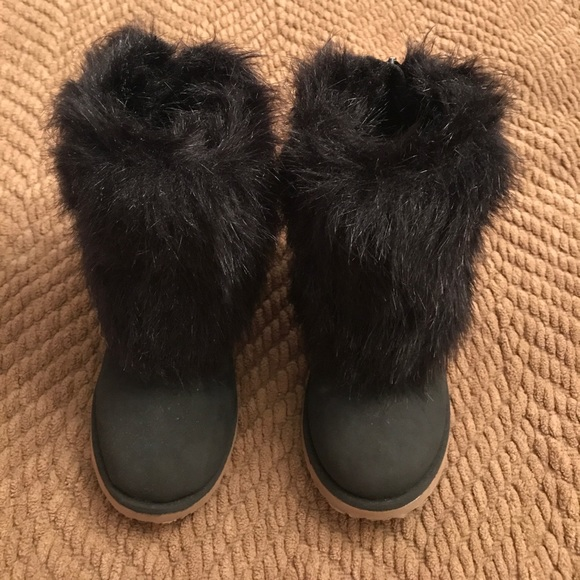 Toddler Girl Black Furry Snow Boots