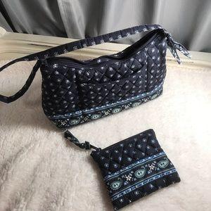 Vera Bradley Handbags - Vera Bradley navy hand bag with matching wallet.