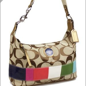 Coach Handbags - Coach Signature Multi-Color Stripe Hobo Bag F15586