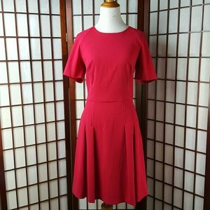 Red Nicole Miller  Pleated Fit & Flare Dress Sz 8