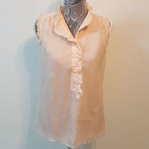 J CREW silk blush sleeveless button ruffle top