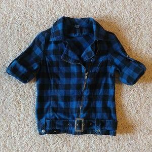 Rhapsody Tops - Blue/black plaid flannel zip up shirt - S