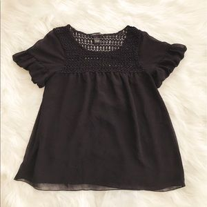 • BCBGMAXAZRIA • Ruffle Sleeves Knit Blouse
