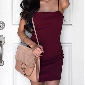 Burgundy mini dress spaghetti strap lulu's small