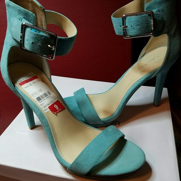 cecd4f88250 NEW Calvin Klein Vivian Suede Teal Heels size 9