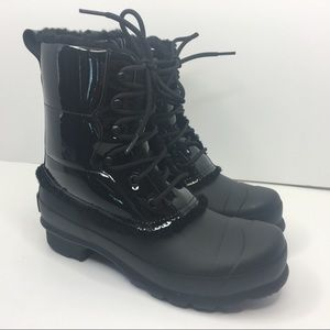 Hunter Shoes - HUNTER black fur winter boots