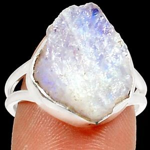 Natural Rough moonstone 925SS ring size 7