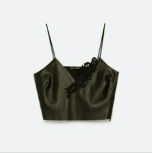 Zara Faux Leather Embroidered top