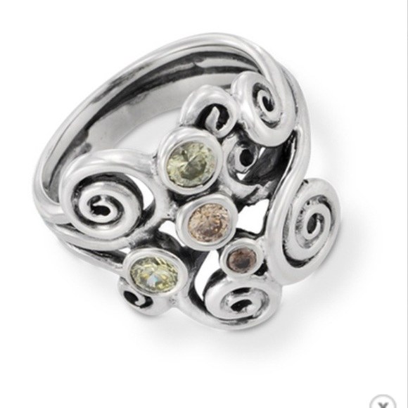 b8b111859 Pandora Jewelry | Silver Brown And Green Autumn Swirl Ring | Poshmark