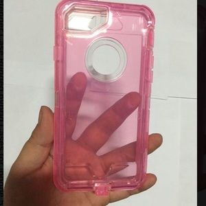 Accessories - iPhone 7/ 7 Plus Pink Transparent Heavy Duty Case
