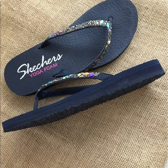 37499c7f9cda Skechers Shoes - New Skechers Women s blue Yoga Mat Flip-Flops 8