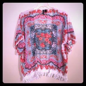 Full Tilt Tops - Beautiful Boho Gypsy Kimono Open Sheer Tunic S-M