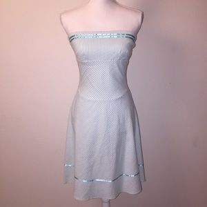 Teeze Me Dresses & Skirts - Teeze Me Blue and White Striped Strapless Dress
