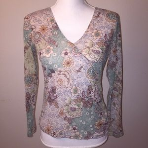 Coldwater Creek Floral Glittery Long Sleeve Top