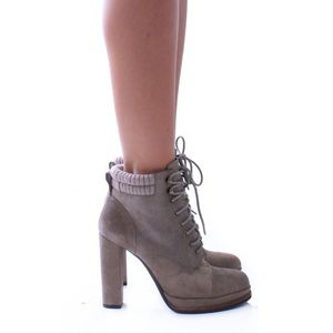 Dolce Vita Shoes - Dolce Vida Taupe Suede Lace Up Booties