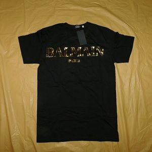 Balmain Other - Balmain Black & Gold Signature Logo T-Shirt