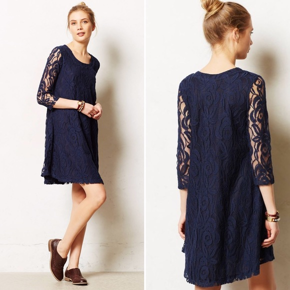 0e77adc5240f8 Anthropologie Dresses & Skirts - Puella Anthropologie Amare Navy Lace Swing  Dress