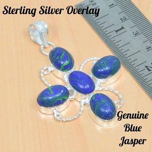 Jewelry - 🌹 Blue Jasper & Sterling Silver Cross Pendant